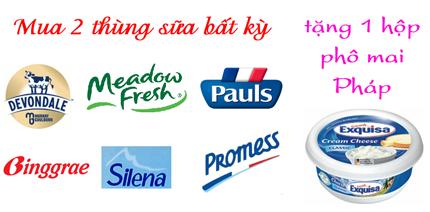 Shop Laha khuyến mãi: mua 2 thùng sữa tặng 1 hộp phô mai Pháp