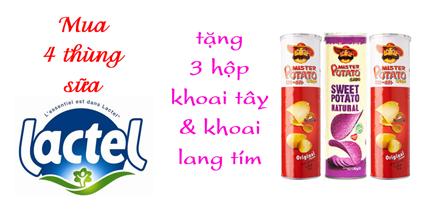 Mua 4 thùng sữa Lactel - tặng 3 hộp khoai tây & khoai lang tím